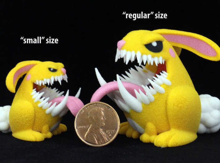 Monster Bunny #3 - Small Eyes 3d printed Image shows size comparison reference only.