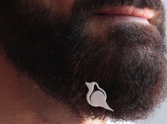 Robin for beard - front wearing 3d printed