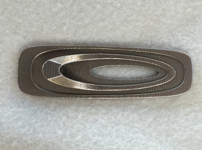 Superellipse Bottle Opener 3d printed Bottom View(Stainless Steel)