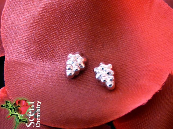 Phenylethanol Ear Studs 3d printed Rhodium-plated phenylethanol ear studs  'worn on' perfumed fabric rose petals.