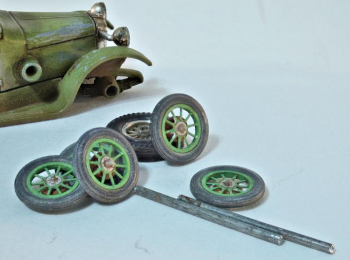 1:48 Vehicle hub/drum/wheel/tire set (1927 Talbot) 3d printed