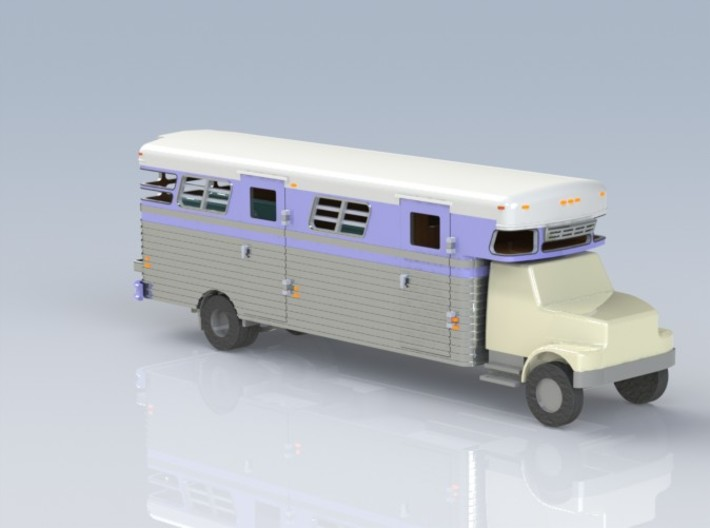 HO 1/87 - 1989 GMC 6-horse box 3d printed Another CAD render view.