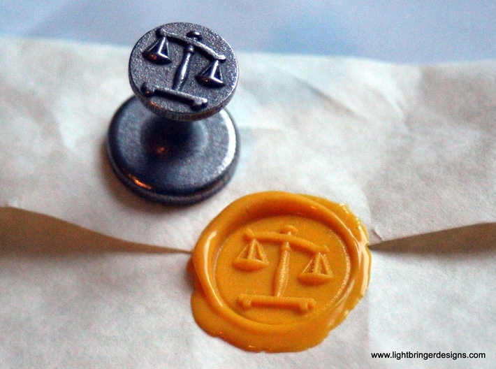 Scales of Justice Seal 3d printed Scales of Justice Wax Seal in Stainless steel with impression in Sunflower Yellow sealing wax