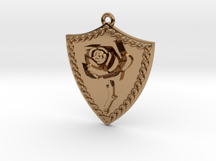 Rose Shield Pendant 3d printed