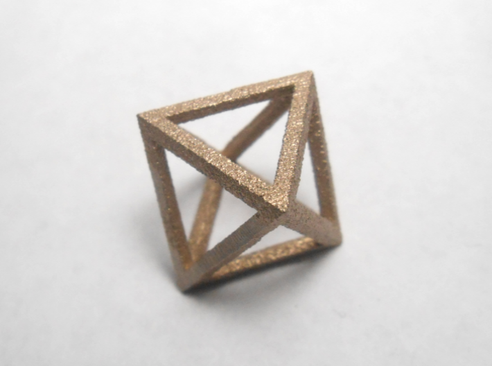Faceted Minimal Octahedron Frame Pendant Small 3d printed Close up.