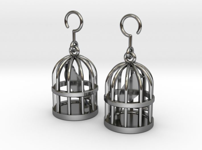 Birdcage Earrings 3d printed