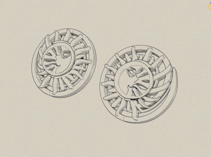 Sun and the moon detailed earrings JD8E 3d printed