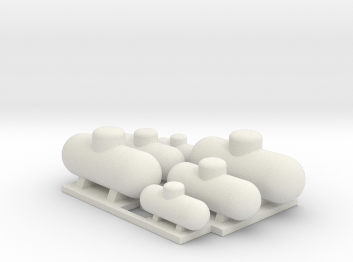 Propane Tank Assortment N 160:1 Scale qty (6) 3d printed