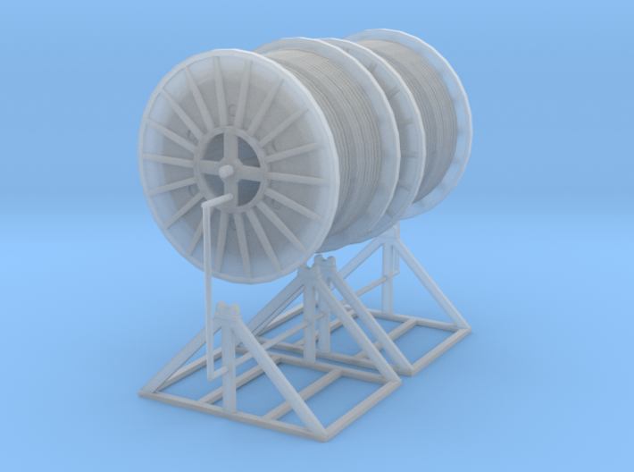 1/87th Pair of cable reel spools on mounts 3d printed