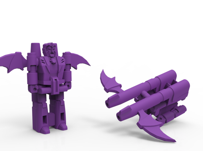 Dracula TargetMonster (5mm Transforming Weapon) 3d printed Render of the assembled blaster in both forms.