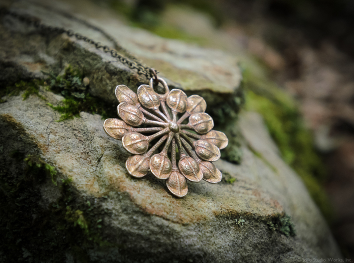 Sun Petals Pendant 3d printed Stainless Steel