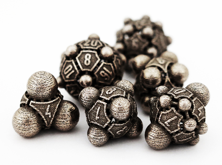 Nucleus D20 3d printed The complete Nucleii Dice Set in Stainless Steel