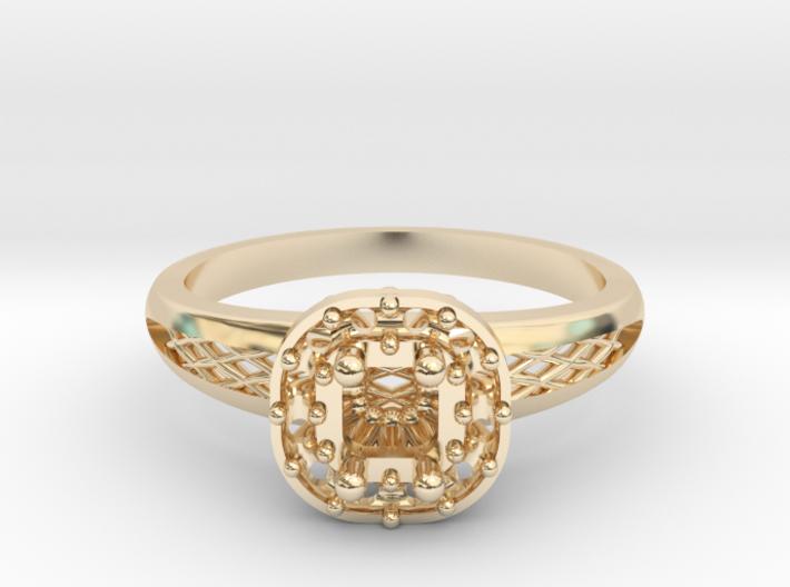 Cushion Halo Engagement Ring 3d printed