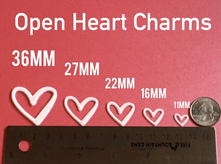 Open Heart Pendant/Charm - 16mm 3d printed
