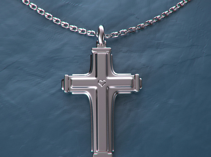 Cross with small heart. 3d printed