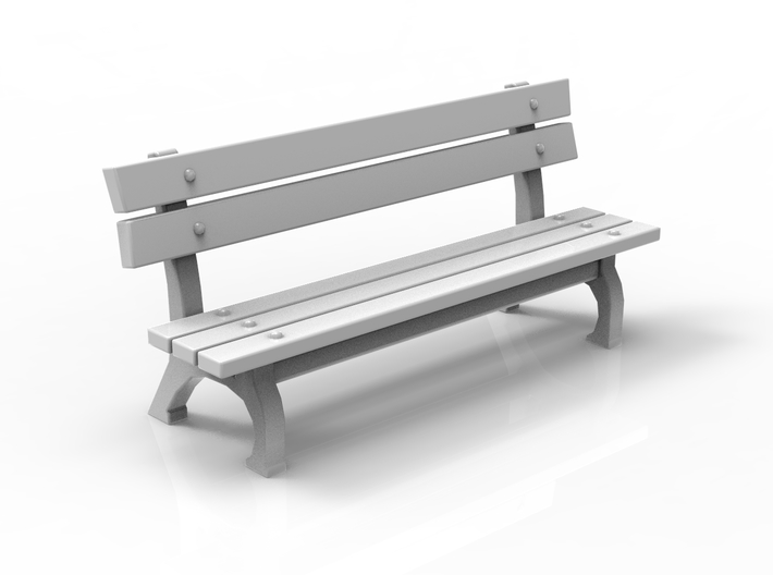 Park bench 01. HO Scale (1:87) 3d printed
