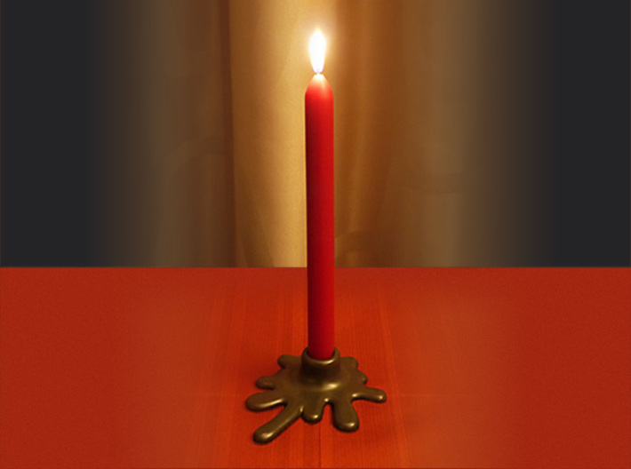 Melted candle holder 3d printed Example with a red candle