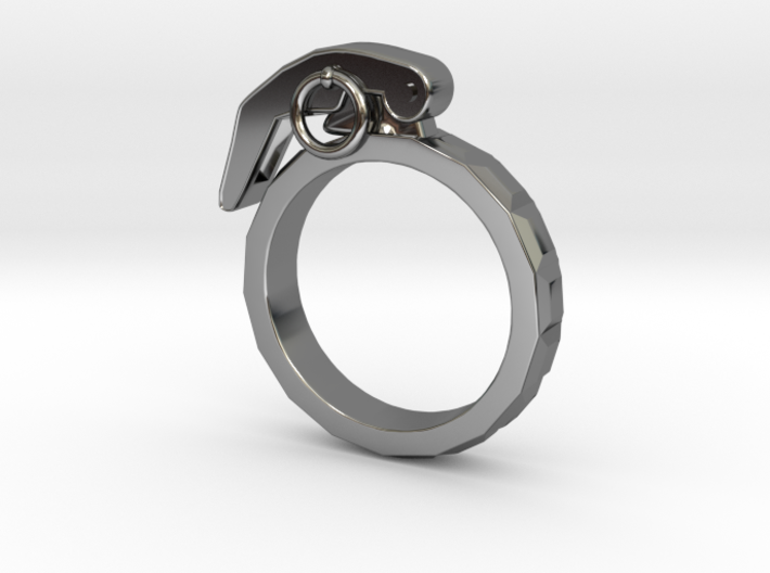 The Gringade - Grenade Ring (Size 5.5) 3d printed