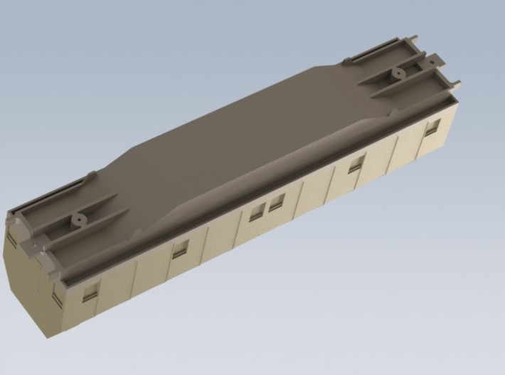 HO 1/87 Boeing aircraft parts railcar hoods 3d printed Another CAD render showing underside detail of car.