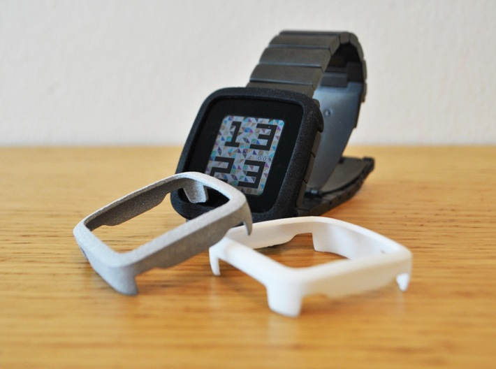 Pebble Time Steel Bumper Cover 3d printed Black, polished mettalic plastic and white / photo by @apebbleaday