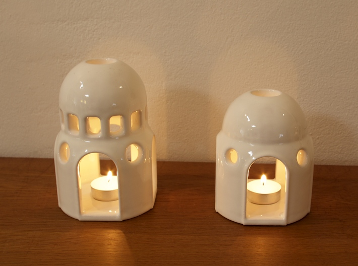 Dome Lantern - Small version 3d printed Dome - Small (to the right)