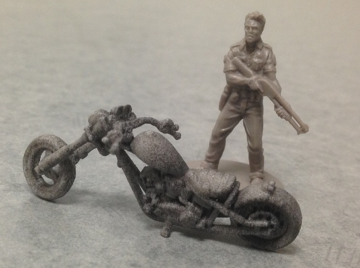 Harley Motorcycle Chopper 28mm miniature 3d printed White Strong & Flexible Polished (there is a quick black wash painted on this pic)