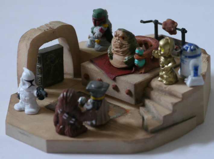 Diorama of Sluggy's Throne Room 3d printed ...And here it is with minifigures! Minifigures are NOT included.