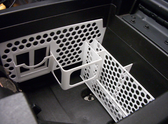 Mustang Console Organizer 3d printed View of passenger side, installed.