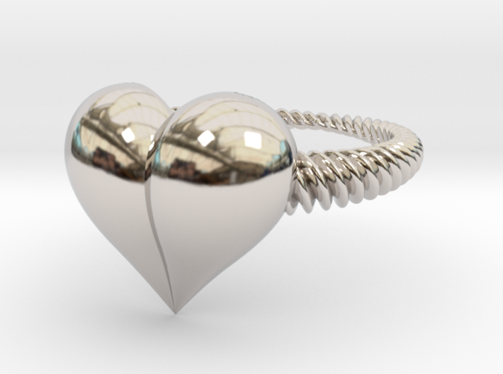 Size 7 Heart Ring 3d printed