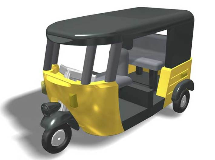 Auto Rickshaw / Tuk Tuk, N-Scale 1:160 3d printed 3-D rendering of autorickshaw, suggested paint scheme