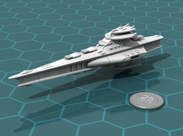 Novus Regency Battleship 3d printed Render of the model, with a virtual quarter for scale.