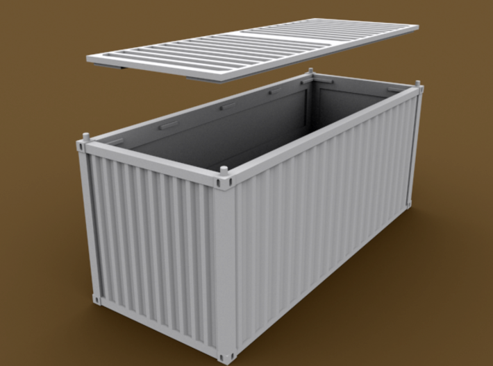 TT Scale Container Standard 20' 3d printed Standard container 20' bottom part removed
