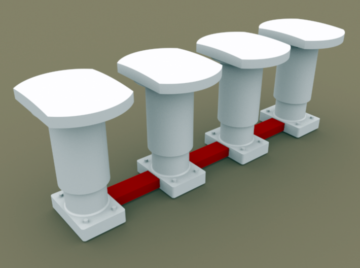 TT Scale Buffer 4pcs for cargo wagons (EU) 3d printed Remove parts highlighted in red