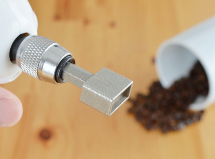 """Coffee Grinder Bit For Drill Driver CDS-L 3d printed Set image (Quick-change 1/4"""" hex chuck)"""