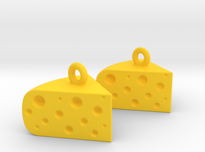 Cheese Wedge Earrings - Horizontal 3d printed