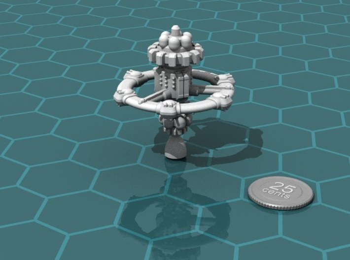 Privateer Mobile Fortress 3d printed Render of the model, with a virtual quarter for scale.