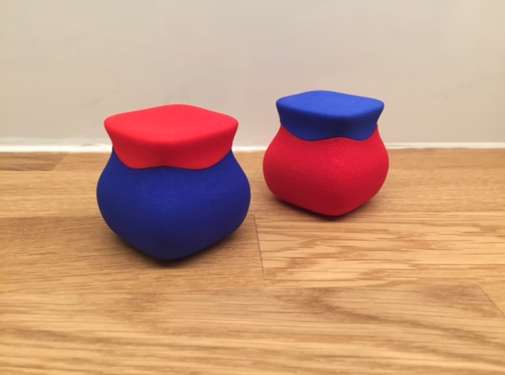 Jewel ring or cufflink keeper (BASE only) 3d printed Shown are two lids and two bases.