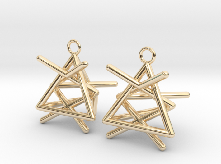 Pyramid triangle earrings type 1 3d printed