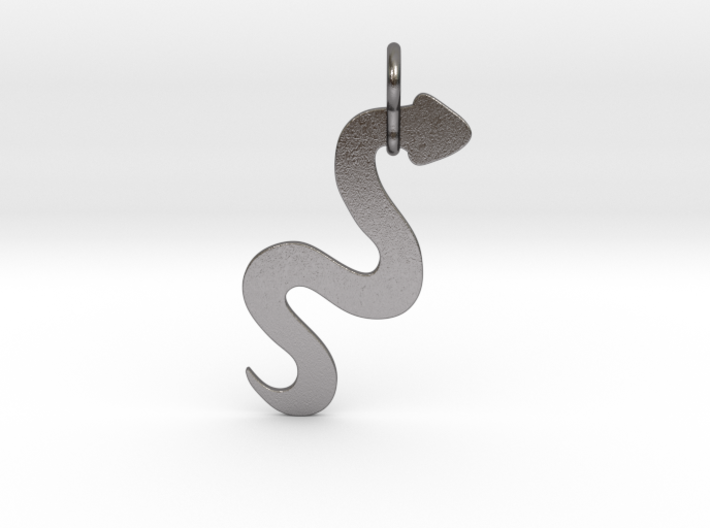Silver Serpent Pendant 3d printed