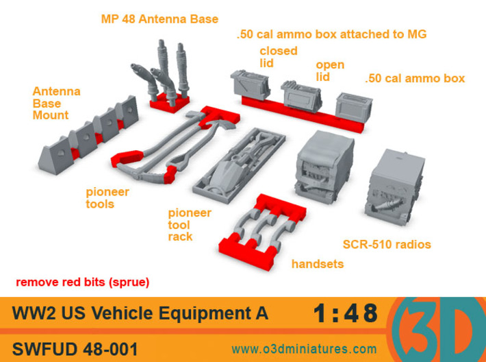 WW2 US Vehicle Equipment A 1/48 scale SWFUD-48-001 3d printed These are the pieces included in this set.