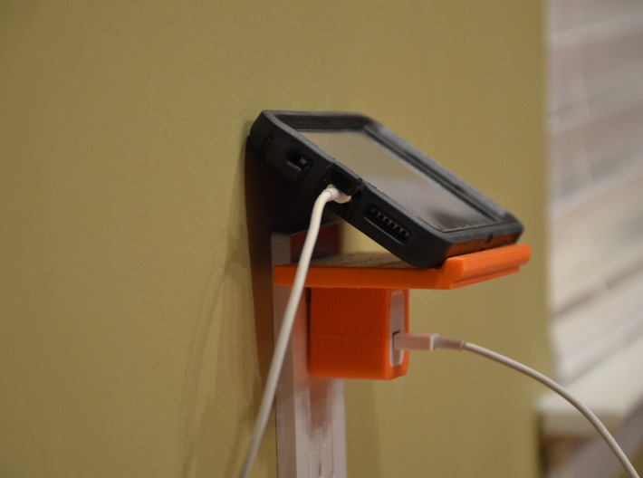 The Phelf (Phone Charging Shelf) 3d printed A Shelf to hold your Phone above an outlet!