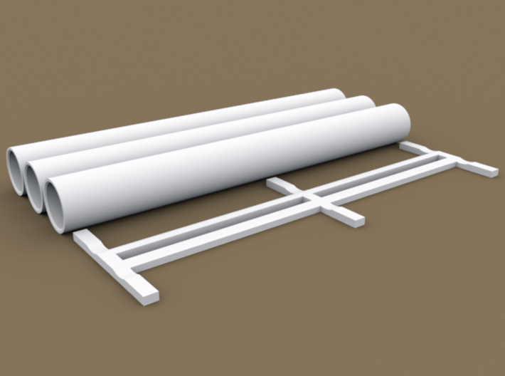 TT Scale Smmps Wagon Steel Tubes Cargo 3d printed TT Scale Smmps Wagon Steel Tubes Cargo - individual parts