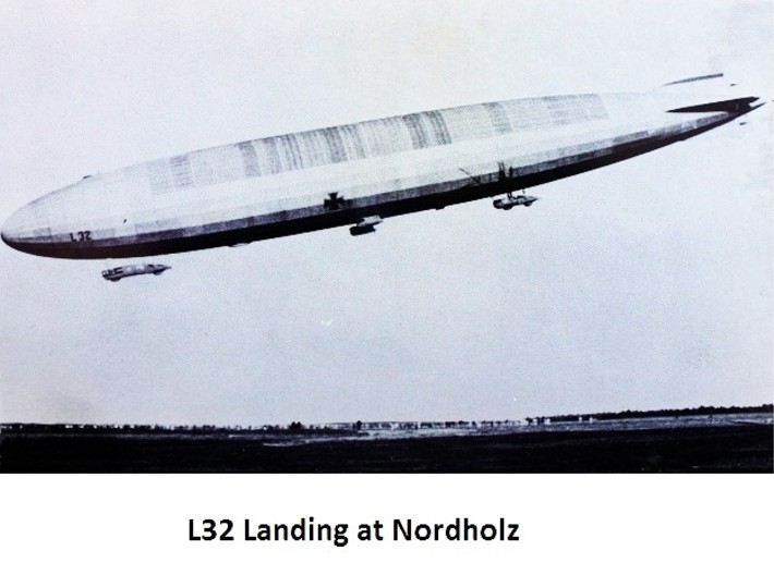 Zeppelin R-Type 1/1250th scale (FD) 3d printed L32 landing at Nordholz.