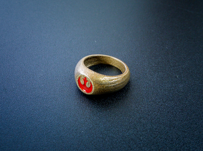 Rebel Alliance Ring (Size 10 1/4 - 20 mm) 3d printed Photo of the ring with paint applied. *Item does NOT arrive painted!