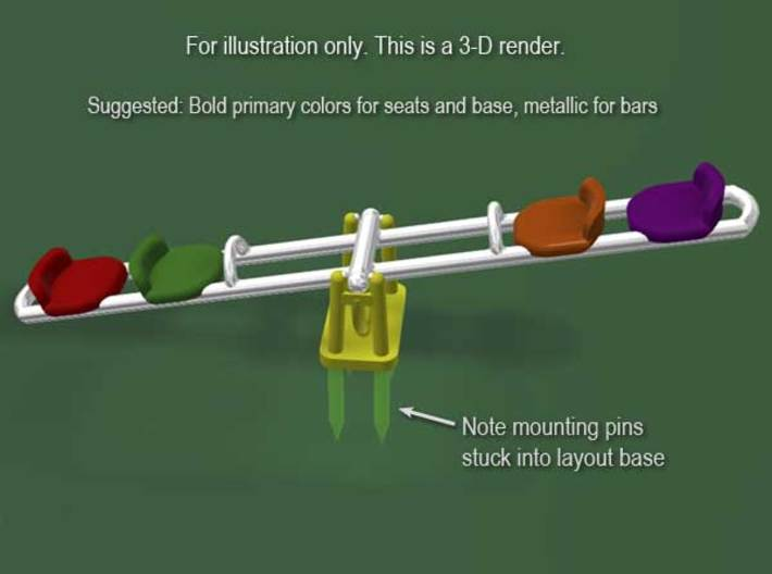 Children's Seesaw, HO Scale (1:87) 3d printed 3-D render of suggested colors.