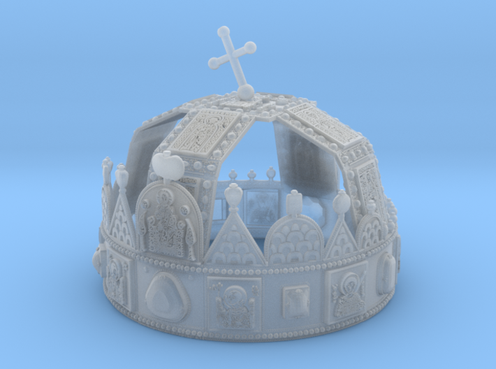 """Hungarian Holy Crown - half scale 3d printed 3dprinted model of """"Hungarian Holly Crown - half scale"""". Material: Frosted Ultra Detail."""
