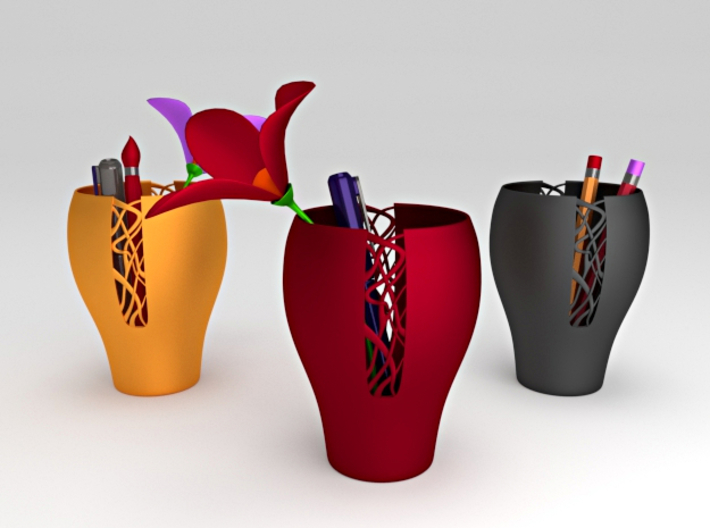 Woven Patterned Pot 3d printed