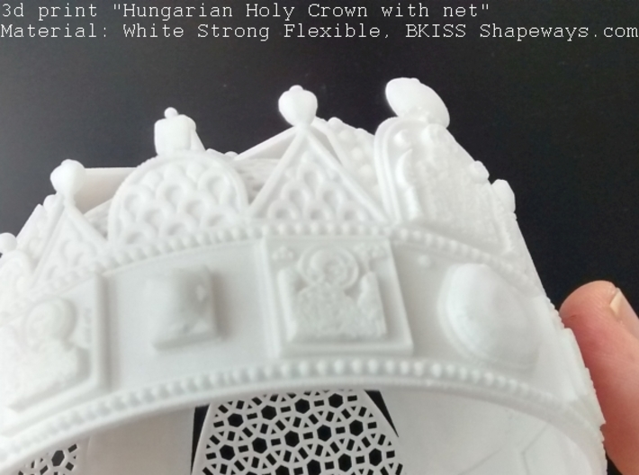 """Hungarian Holy Crown with net - half scale 3d printed Photo about 3dprint """"Hungarian Holy Crown with net"""" - White Strong Flexible - Under with toplight"""