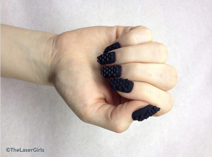 Cube Nails (Size 1)  3d printed Black Strong and Flexible Polished