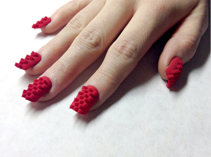 Cube Nails (Size 2) 3d printed Red Strong and Flexible Polished